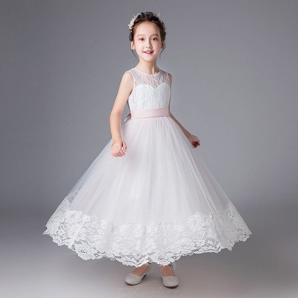 ef5259f4d8eb Elegant Dress Long Sleeveless Lace Flower Ball Gown Dresses For Girls - Free  shipping - DealExtreme