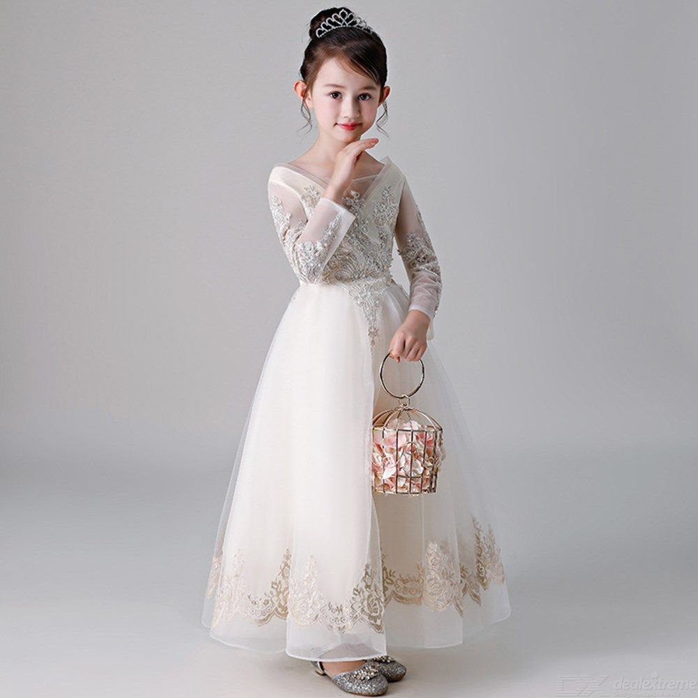dd532a2b5618 Kids Dress Long Sleeve Princess Lace Flower Ball Gown Dresses For Girls - Free  shipping - DealExtreme