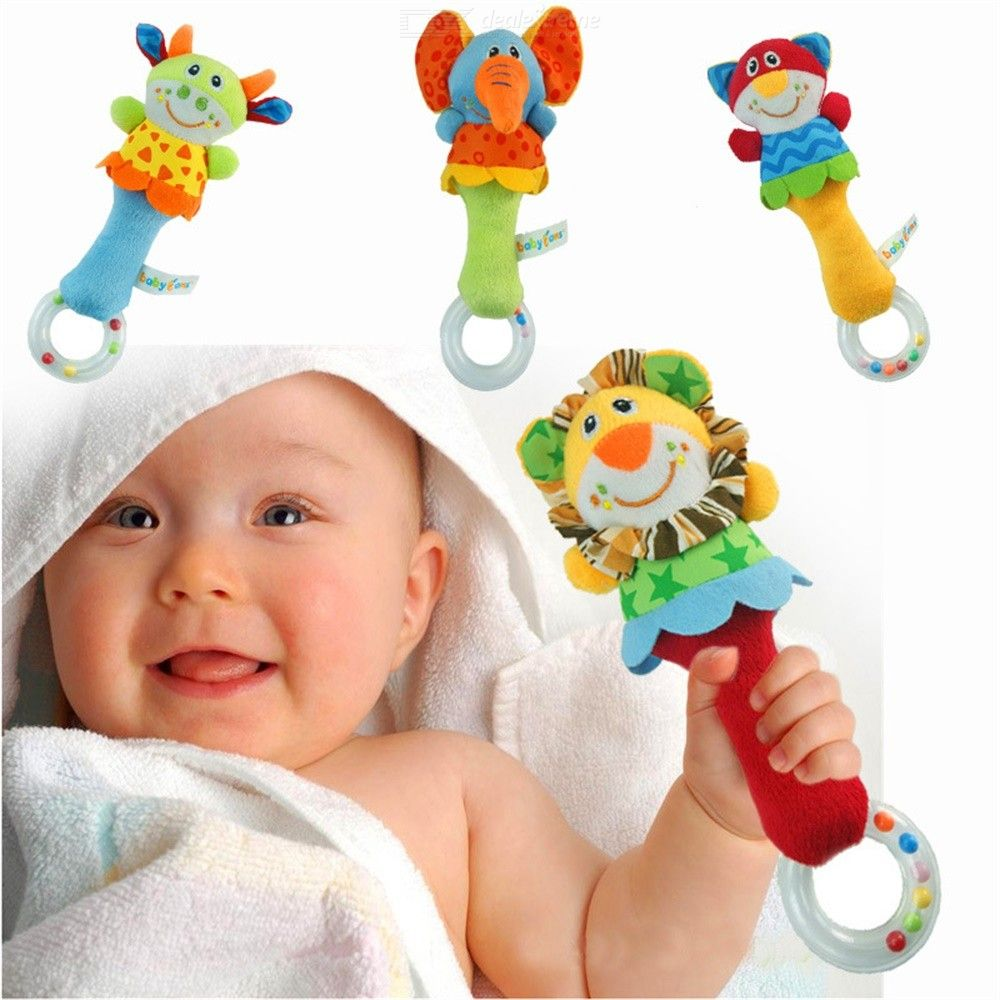Image of Rattles Kids Baby Toys Stuffed Animal Plush Teether Hanging Strollers BB Sound Toys