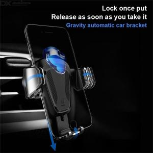 Gravity Cellphone Holder Mount Bracket Air Outlet Smartphones Car Phone Mount Clip