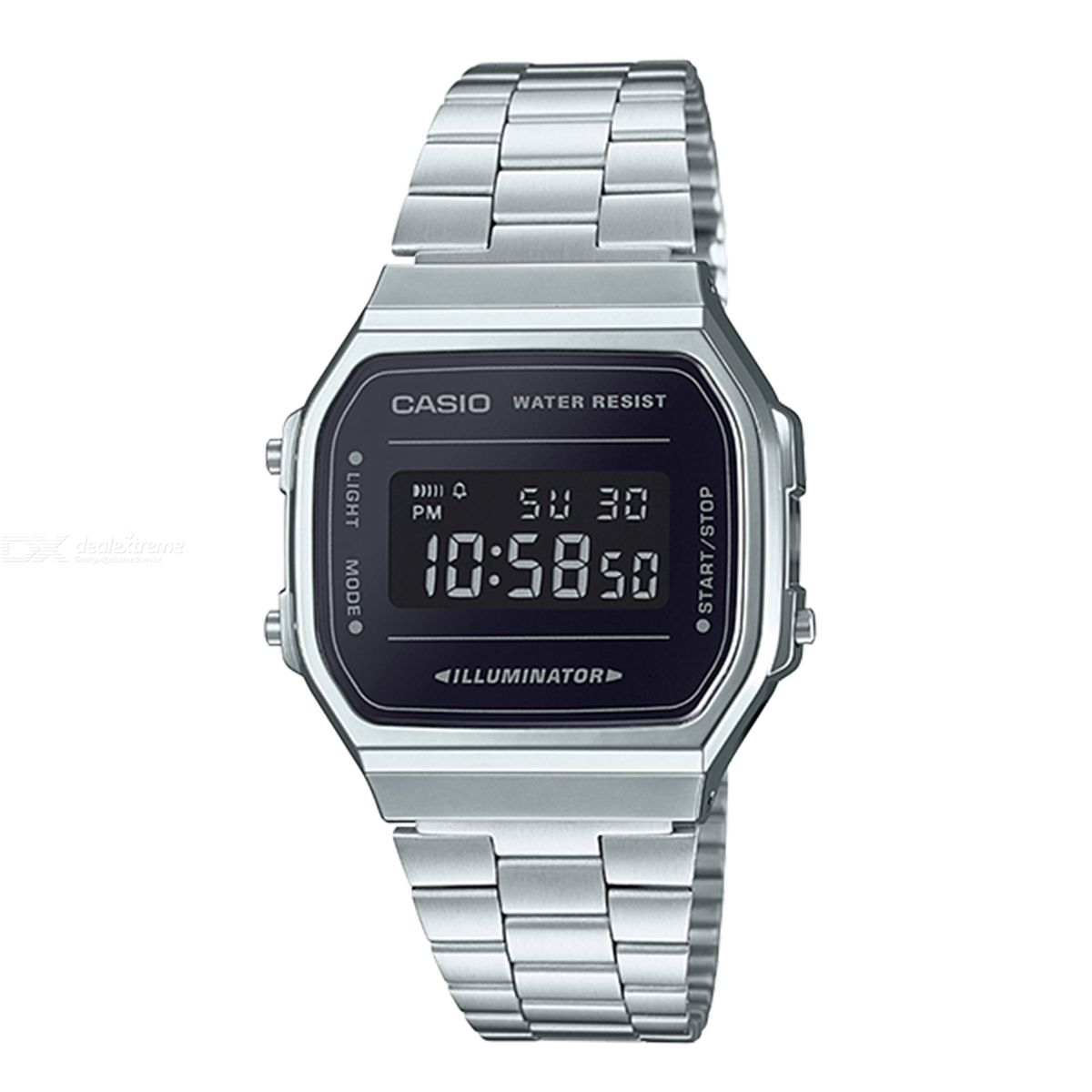 c27e439ff Casio A168WEM-1 Mirror Finish Frace Stainless Steel Digital Watches -  Silver and Black (