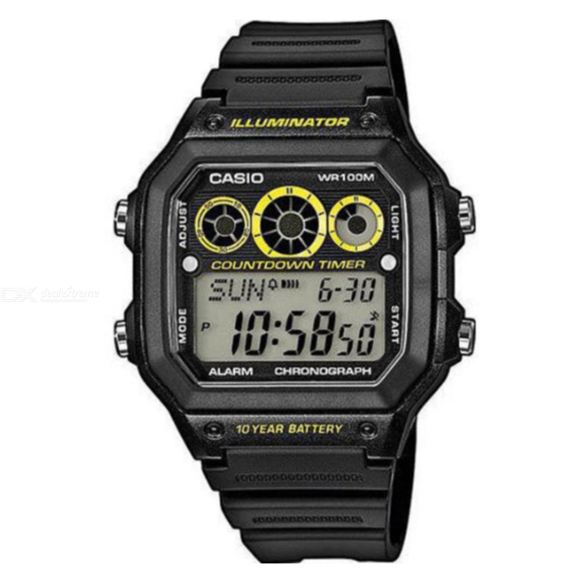 b23cbae9f957 Casio AE-1300WH-1AVDF Digital Alarm Watch - Black Yellow (Without Box) -  Free shipping - DealExtreme