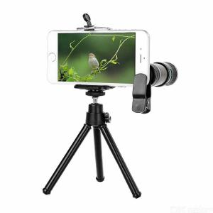 Universal 12X Long-focus Telescope + Tripod Set For Cellphone - Black