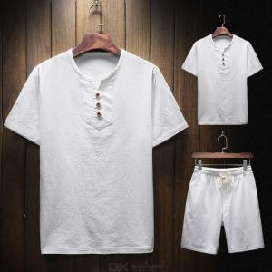 Mens Short Sleeve Outfit Casual Chinese Style Linen T-shirt And Pants