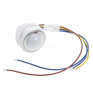 40mm LED PIR Detector Infrared Motion Sensor Switch With  Adjustable Time Delay  -  White