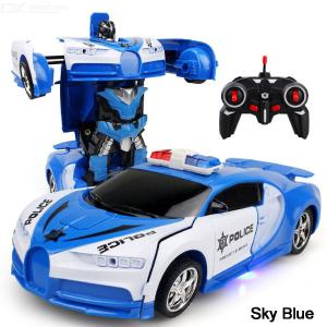 Remote Control Deformation Car RC Cars One-Key Transforming Robot Toy For Children