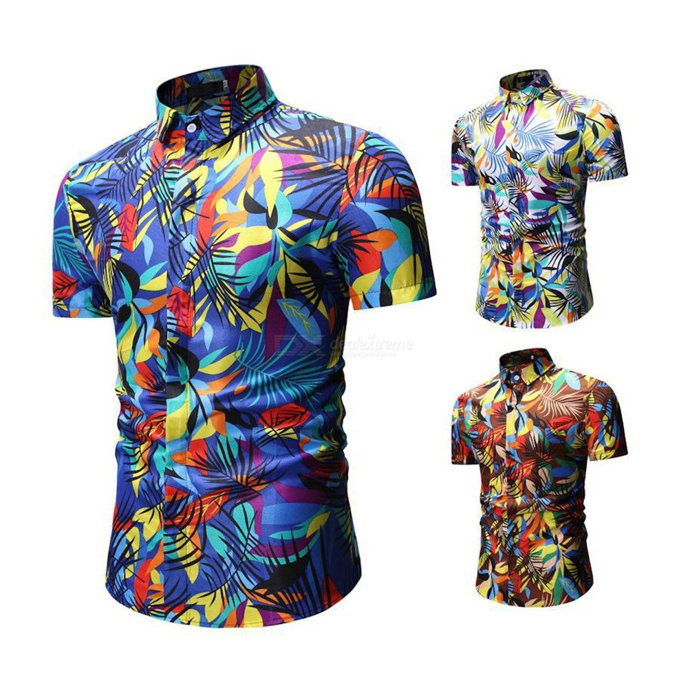 cae5cbf779 Male Fashion Casual Thin Shirt Retro Cotton Short-sleeve Shirts With  Colorful Plant Pattern For Men