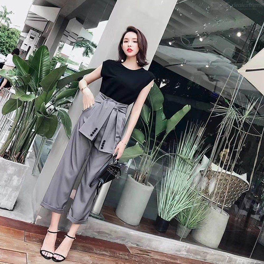 4e483da946 Women 2 Piece Outfits Set With Sleeveless Blouses Tops And Maxi Straight  High-Waist Pants Jumpsuits Set - Free shipping - DealExtreme