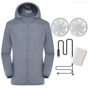 Breathable Lightweight Jacket UPF50+ Sun Protection Hoodie Summer Fan Cooling Clothing For Fishing Cycling Outdoor Work