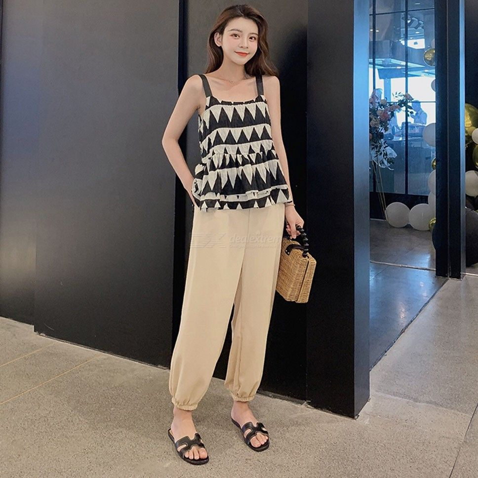 17c2b79357 Womens Summer Clothes Set Triangle Print Tank Top + Pants - Free shipping -  DealExtreme