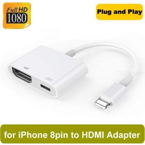 8 Pin Digital AV Adapter Lightning to HDMI Cable for Apple iPhones - White