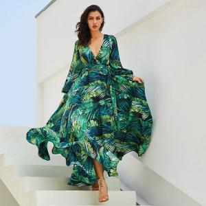 Womens Plunge Neck Dress Sexy French Style Deep V Neck Leaves Print Dress