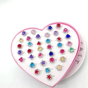 Colorful Rhinestone Rings Toy Heart Shaped Boxed Ring For Children Little Girls