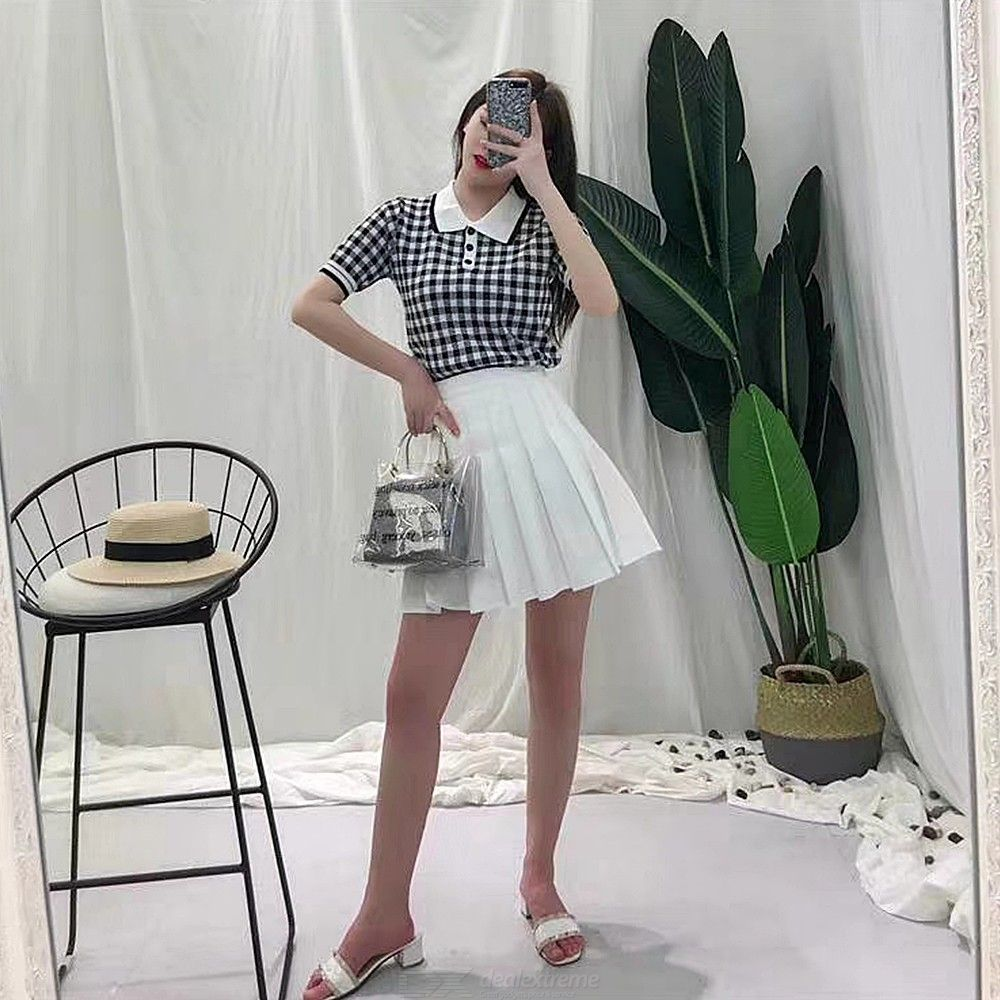 29bc8f0538 Womens Clothes Set Classic Plaid T-shirt + Pleated Skirts - Free shipping -  DealExtreme
