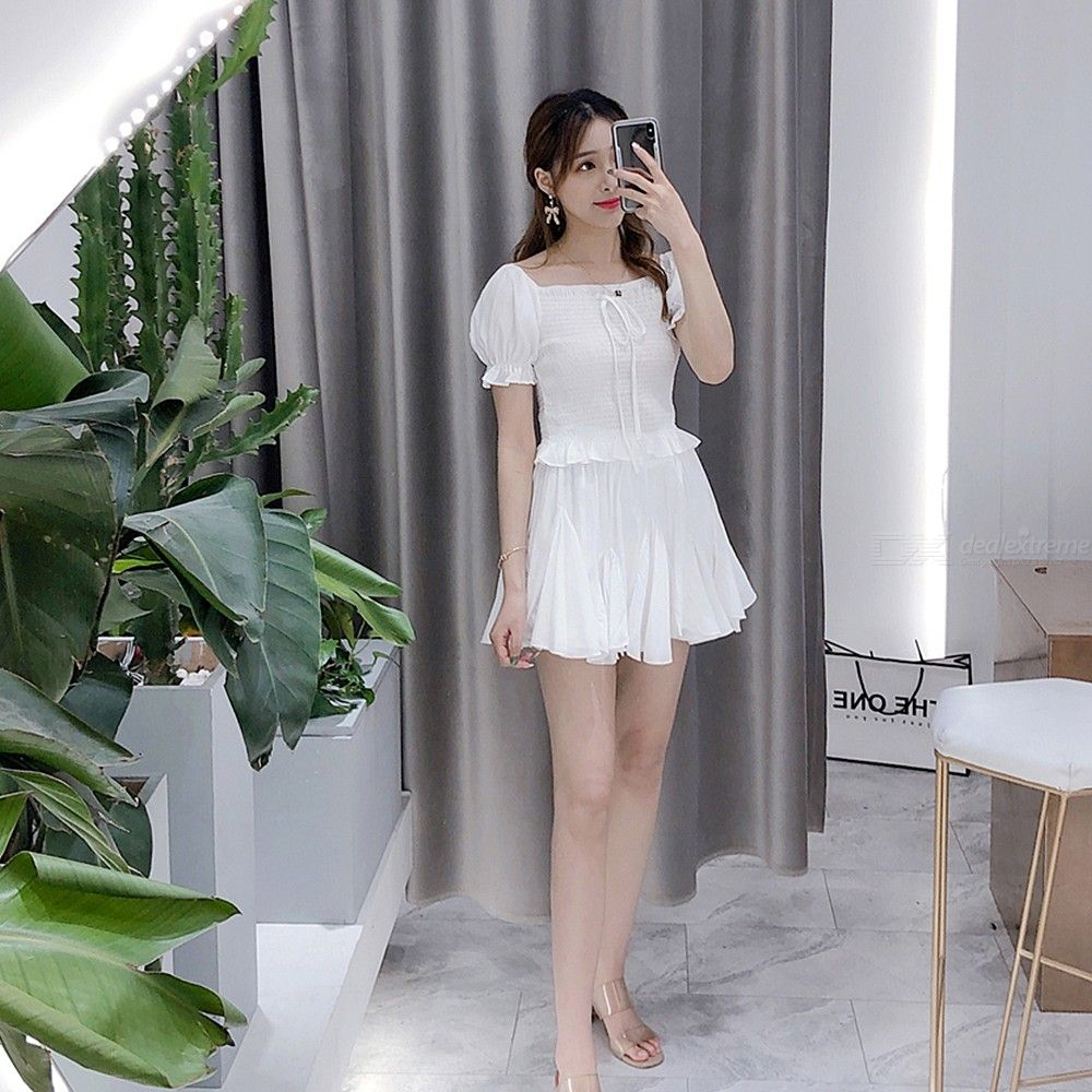 58f624ddca Womens Two Piece Outfit Cropped Puff Sleeve Top + Skirts - Free shipping -  DealExtreme