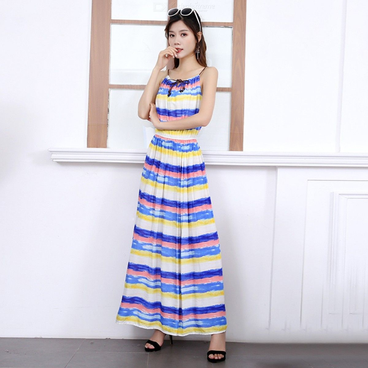 02478d08a7 Womens Summer Boho Floral Dresses Sleeveless Spaghetti Strap Maxi Dress - Free  shipping - DealExtreme