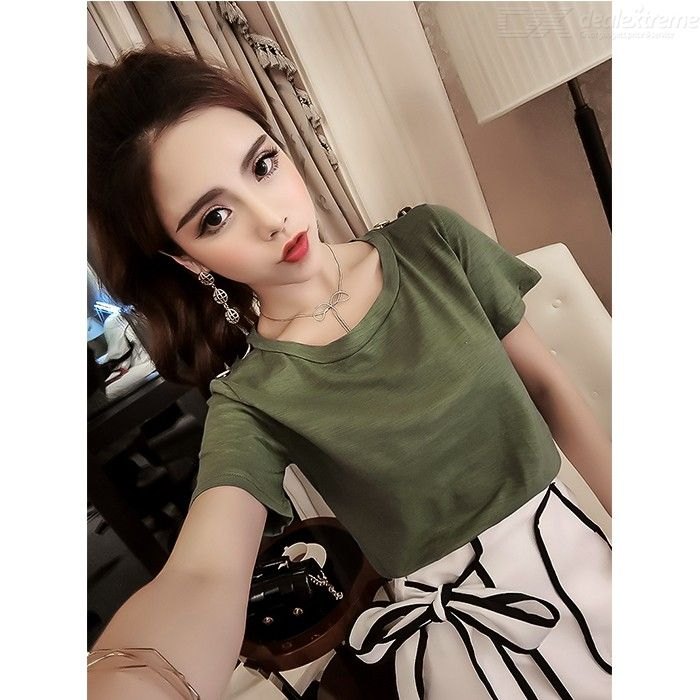 c474b2e0f6 Womens Stylish Outfit Solid Short Sleeve T-shirt + Elegant Skirt ...