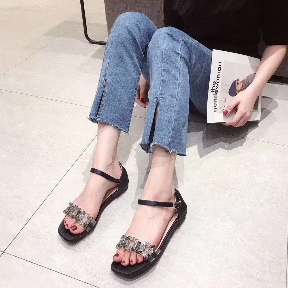 c93b77472e Summer Flat Transparent Ankle Strap With Rhinestones Sweet Cover Heel  Sandals