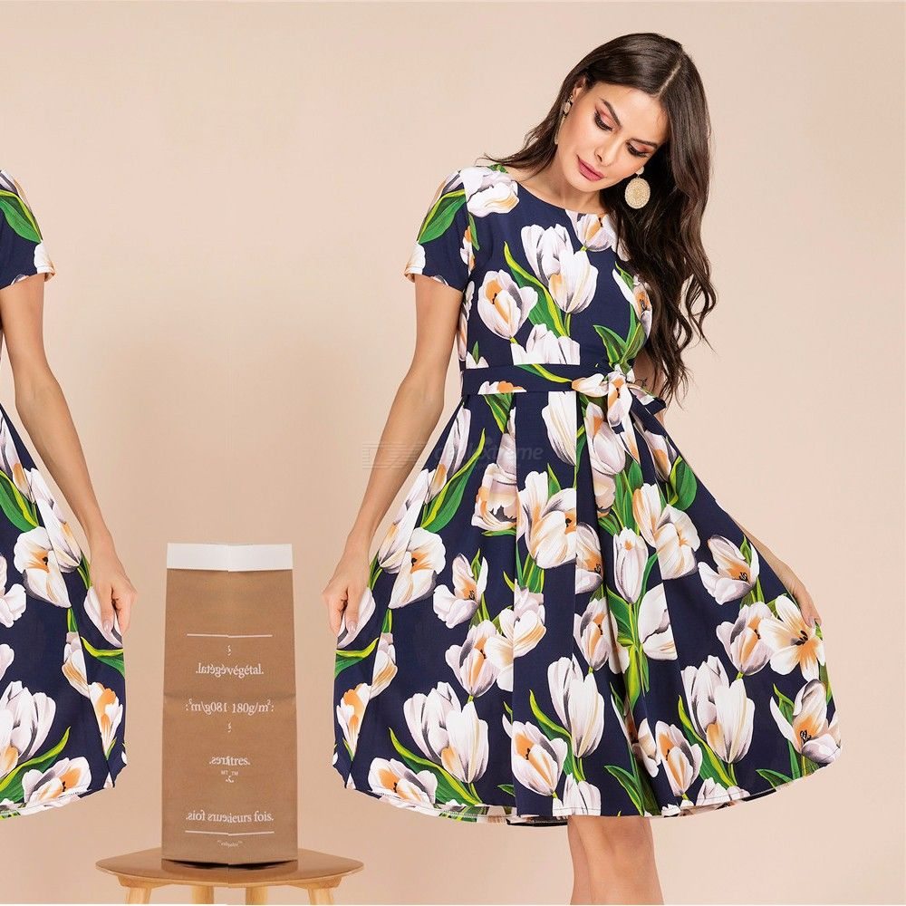 facd59fafde Womens Summer Floral Midi Dresses Short Sleeve O Neck Swing Party Dress - Free  shipping - DealExtreme