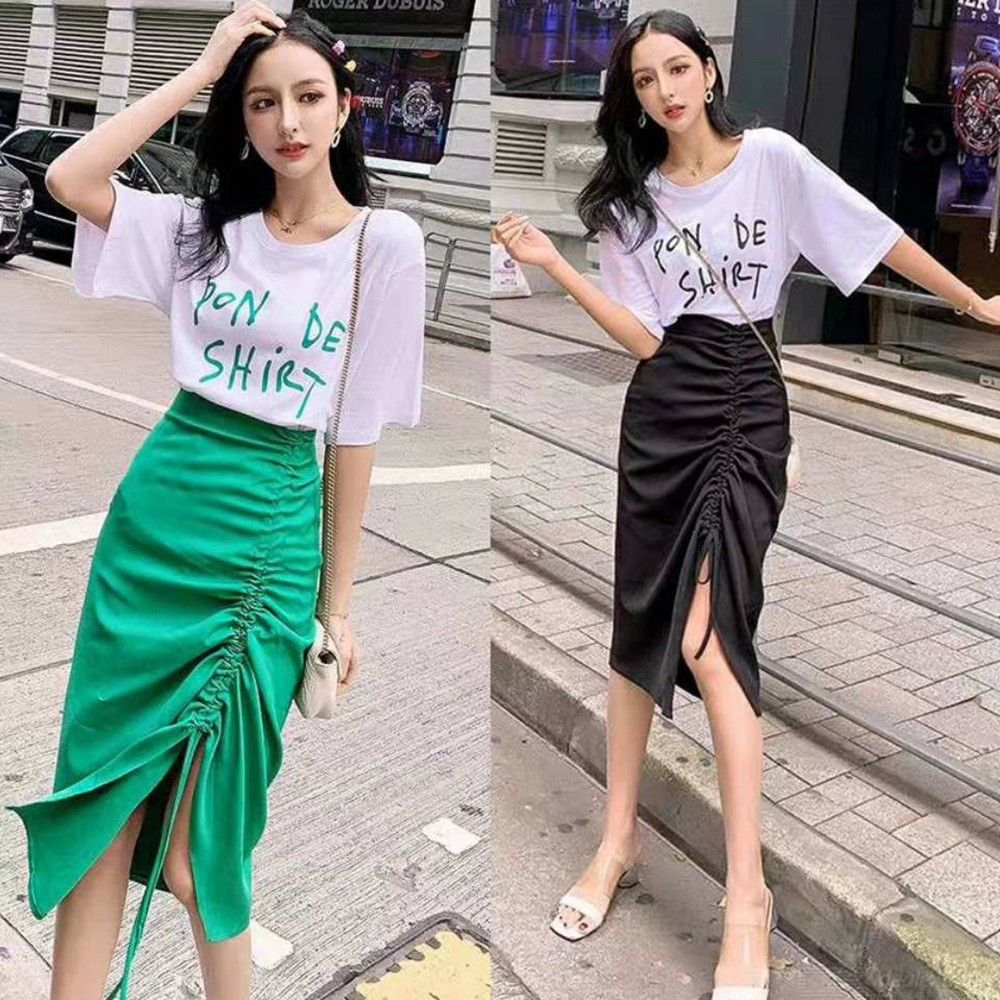a31a8af9b8 Woman Two Piece Letter Print Short Sleeve T-shirt And Slit Pull Tie Pencil  Midi Skirt Set - Free shipping - DealExtreme