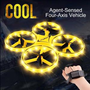 Mini Quadcopter Induction Drone, Smart Watch Remote Sensing Gesture RC Aircraft UFO Somatosensory Noctilucent Interaction RC Toy