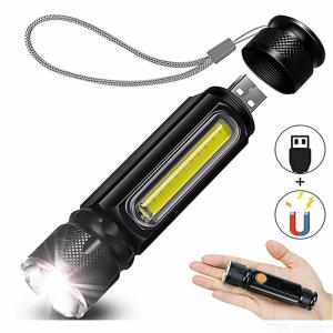 2 Pack Super Bright LED Tactical Flashlight 800LM T6 Rechargeable Waterproof USB Flashlight with Magnet Base