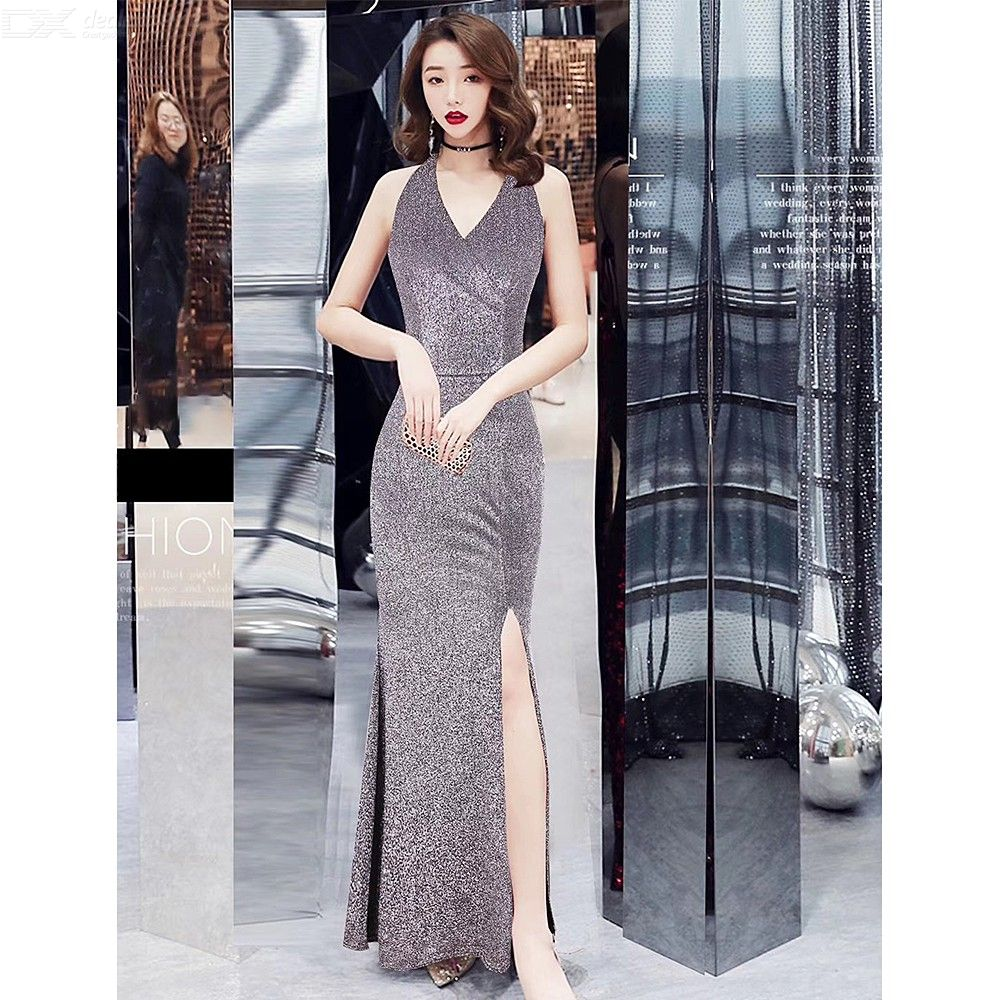 faa65a27a5 Woman Glitter Sequins Deep V Neck Sleeveless High Split Backless Bodycon  Sexy Maxi Dress