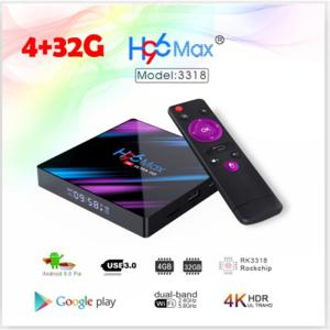 H96 Max 3318 Smart Android 9.0 TV Box Quad-core 4GB RAM 32GB ROM Support 2.4G + 5G Dual WiFi 1080p 4K HDR