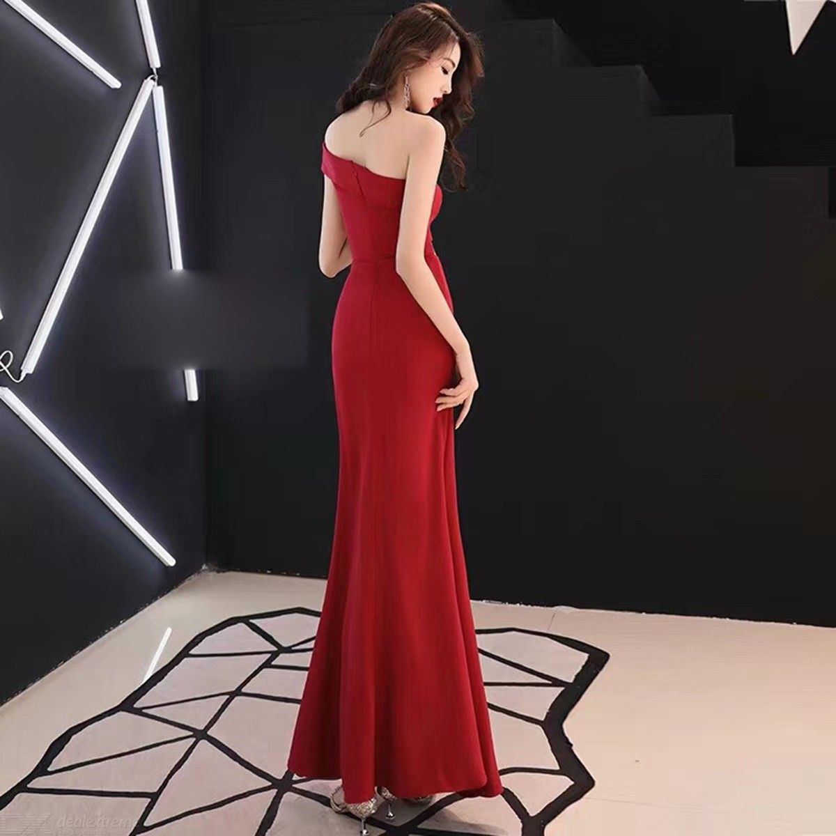 c8ef7c1ba6b70 Woman Evening Party Vintage Solid One Shoulder Waist Cut Out High Split  Bodycon Maxi Dress