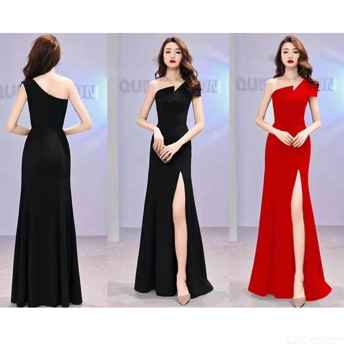 664bb7332562b Women's Evening Gowns One-shoulder Empire Waist Split Flared Maxi Dresses  For Wedding Cocktail Party Prom Banquet