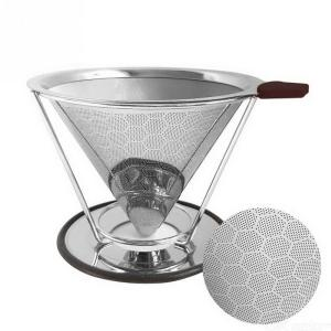 Stainless Steel Double Layer Coffee Filter, Reusable Pour Over Coffee Dripper Cone With Non-slip Stand And Brush Honeycomb