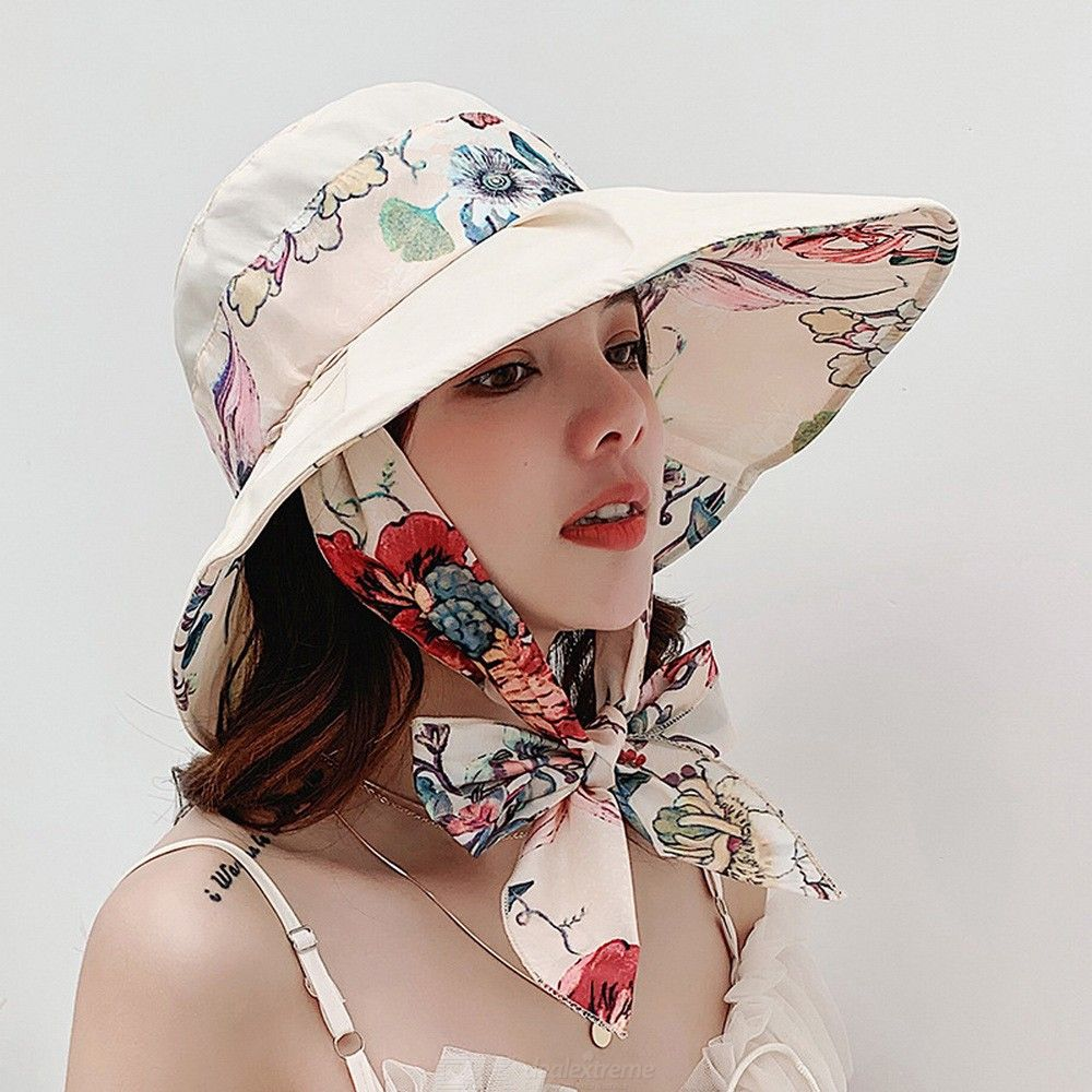 2bb0a9f6910 Womens Summer Beach Sunhats Foldable Brim Sun Hats With Elegant Floral  Bowknot And Lanyard