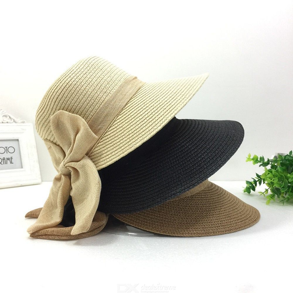 218243480bb Summer Small Cute Straw Hat, Classic Bowknot Wide Brim Beach UV Protection Sun  Hat Cap