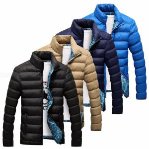 New Men's Clothing Short Paragraph Stand Collar Slim Thickening Warm Cotton Over Down Coat