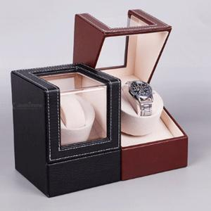 High-End PU Leather Automatic Single Watch Winder Display Box With US Plug Adapter