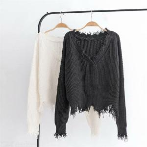 New Autumn Winter Sweater Women Clothes Knitted Casual Sweaters Long Sleeve Tops Harajuku Loose Short Sweater Solid