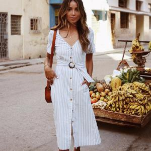 2019 New Fashion Summer V-neck Short-Sleeved Solid Color Striped Button Button Long Dress Casual Street Elegant Dress