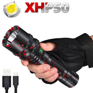 LED Tactical Flashlight Ultra Bright 1800LM USB Rechargeable LED Flashlights Waterproof 5 Modes with SOS for Camp Emergency Home