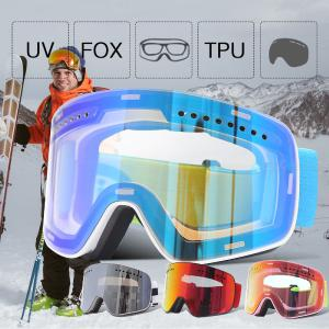 Magnetic Ski Goggles Anti-Fog UV Protection Skiing Eyewear Windproof Spherical Glasses With Adjustable Strap For Men Women