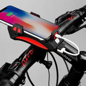 USB Charging Bicycle Light Multi-function Waterproof Horn Lamp With Mobile Phone Holder Cycling Accessories