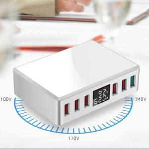 Multi-Port USB Travel Charger with Digital Display, 6-Port USB QC3.0 Fast Charging Station