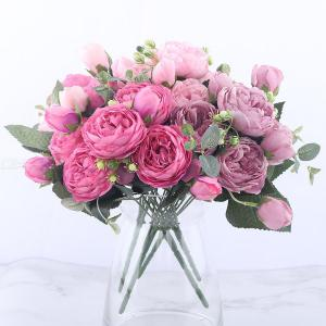 30cm Rose Pink Silk Peony Artificial Flowers Bouquet, 5 Big Head And 4 Bud Fake Flowers For Indoor Home Wedding Decoration