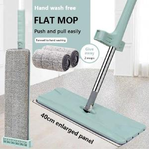 Dry Wet Flat Floor Mop With 2 Washable Microfiber Cleaning Pads, Home Floor Cleaning System