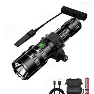 1102W 1000 Lumen XM-L2 Tactical Flashlight, Super Bright USB Rechargeable Waterproof LED Torch with 18650 Battery - White Light