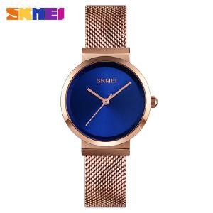 SKMEI Womens Stainless Steel Watch Minimalist Style Dial Bracelet Watch 30M Water Resistance