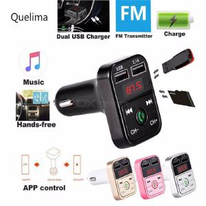 Quelima Car Bluetooth FM Transmitter Card Dual USB Car Bluetooth Transmitter