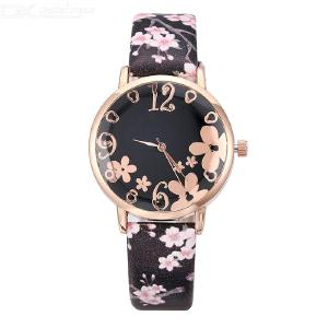 Womens Analog Quartz Round Wrist Watches With Leather Band