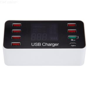 8 Ports Multi USB Charger Quick Charge QC 3.0 Phone Charging Station Universal USB HUB Charger LED Display
