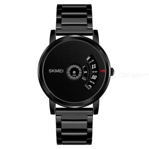 SKMEI Mens Creative Fashion Quartz Wrist Watch Personality Business Wristwatch With Stainless Steel Band