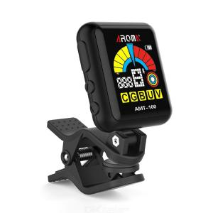 AROMA AMT-100 2 in 1 Rechargeable Rotatable Clip-on Electronic Tuner, Color Screen Metronome with Built-in Battery USB Cable
